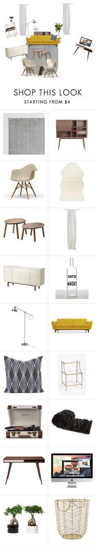 """Living room inspiration"" by ashley-walker-i on Polyvore featuring interior, interiors, interior design, home, home decor, interior decorating, Bobby Berk Home, Baxton Studio, CB2 and SecondoMe"