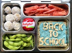 "Back to school is right around the corner! #ad Whether your kids are learning in person or virtually, a lunch that keeps them fueled through the day is super important! Here's what's inside: Mini @babybelus 100% real cheese (the center and star with no artificial flavors or preservatives), back to school sandwich with bright whipped cream cheese or hummus (either works!), watermelon ""fries"", edamame and coconut peanut butter balls! #Babybel #jointhegoodness #easylunch #kidssnacks… Coconut Peanut Butter, Peanut Butter Balls, School Lunch Recipes, Whipped Cream Cheese, Edamame, Creative Food, Lunch Ideas, Preserves, Hummus"