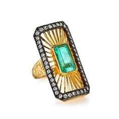 Arman Sarkisyan emerald and diamond ring in 22K gold with oxidized sterling silver