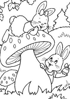 Kids Easter Coloring Pages Bunny Hunting Eggs