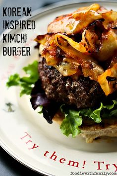 Korean Inspired Kimchi Burger with Spicy Mayo Gourmet Burgers, Burger Recipes, Seafood Recipes, Sandwiches, Kimchi Burger, Bbq, Lunch Specials, Fusion Food, Good Burger