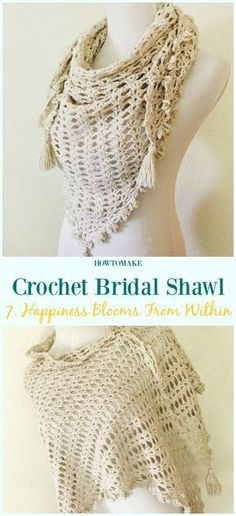 Happiness Blooms From Within Free Crochet Pattern-#Crochet; Bridal #Shawl; Free Patterns