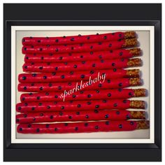 Ladybug themed chocolate covered Pretzel rods , personalized favor, centerpiece or candy table, set of 12 ladybug candy