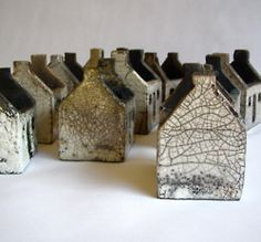 Rowena Brown - Ceramic houses, glazed and raku fired. (Inspired by the abandoned dwellings on the islands of St. Kilda)