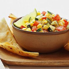 Verano Fresco Salsa Serve this fresh and crunchy salsa with chips or on top of grilled meats, chicken, or fish.