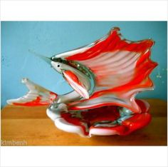 Beautiful Heavy Hand-Made Murano Ashtray /Decorative Piece with Sailfish Listing in the Elegant Glass,Glassware,Glass,Porcelain, Pottery & Glass Category on eBid United States