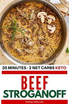 Beef Stroganoff without the carbs? Count me in! This Healthy Beef Stroganoff is every bit as good as the original. The rich and creamy sauce will keep you coming back for more. #kickingcarbs #ketobeef #easyrecipes #ketodinnerrecipes Gluten Free Recipes For Breakfast, Healthy Gluten Free Recipes, Gluten Free Dinner, Keto Dinner, Dinner Recipes, Healthy Beef Stroganoff, Sirloin Steaks, Protein Pack, Creamy Sauce