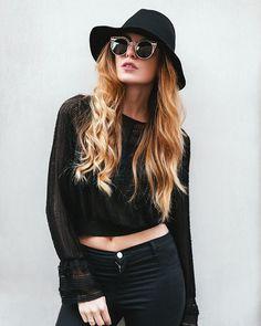 Get this look: http://lb.nu/look/7875886  More looks by Kristi Gogsadze: http://lb.nu/lageorgienne  Items in this look:  Zero Uv Cateyes Sunglasses, Zara Top   #casual #chic #street #zerouv #sunglasses #zara #black #croptop #hat