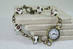 Vintage Style Watch Bracelet with Lampwork Glass