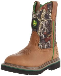 John Deere 3188 Western Boot Crazyhorse Leather And Mossy Oak Camo Pattern Comfort padded insole Riding-friendly rubber sole; Kid Shoes, Girls Shoes, Shoe Boots, Western Boots, Cowboy Boots, John Deere Kids, Mossy Oak Camo, Goodyear Welt, Discount Shoes