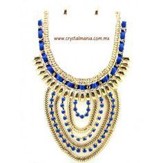Set de collar y aretes  en color dorado con detalles en tono azul rey estilo 30436