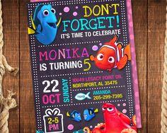 Finding Dory Invitation for Girl, Finding Dory Birthday Invitation, Girl Finding…
