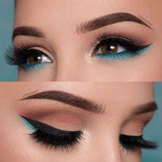 The Smokey Eye Make-up is perfect for the shape of your eyes . - Make-up - # . , The Smokey Eye Make-up is perfect for the shape of your eyes . - Make-up - Makeup Eye Looks, Cute Makeup, Smokey Eye Makeup, Eyeshadow Makeup, Beauty Makeup, Gorgeous Makeup, Teal Makeup, Blue Eyeliner, Makeup Brushes