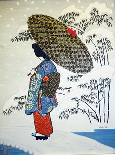 Lady in Snow.  Interpretation of Japanese wood block print by Dia. Watercolor and Washi paper
