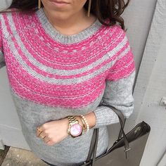 "Mia on Instagram: ""A little blurred fairisle on this windy Saturday! I'm obsessed with pinks right now and this sweater is no exception. So fall, so pink, and so perfect  #sweateraddict"""