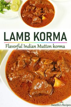 Easy mutton korma made with yogurt, whole spices and spice powders. This is a slow cooked Indian lamb korma curry that turns out delicious & the best with soft Lamb Korma Recipes, Lamb Chop Recipes, Beef Recipes, Vegetarian Recipes, Cooking Recipes, Paneer Korma Recipe, Chicken Korma Recipe, Goat Recipes, Halal Recipes