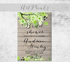 Printable Bridal Shower Invitation Rustic Bridal Shower Invite Spring Bridal Shower Invitation Printable Barn Wood Printable Invitation