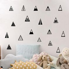Items similar to Nursery Decor, Mountain Wall Decals - Nursery Decals, Scandinavian Design Wall Decals, Monochrome Wall stickers, Nordic Nursery Wall Decals on Etsy