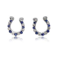 Go Blue Shire And Diamond Horseshoe Earrings