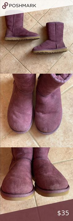 UGG classic short boots in purple Good condition, size 5, UGG classic short boots in purple. Suede and sheepskin upper, EVA outsole. Feel free to ask any questions. UGG Shoes Winter & Rain Boots Ugg Classic Short, Purple Suede, Plus Fashion, Fashion Tips, Fashion Trends, Room Rugs, Short Boots, Ugg Shoes, Winter Rain