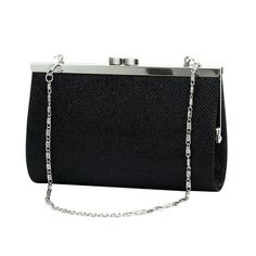 New Black Shimmer Clutch Purse Chain Shoulder Bag