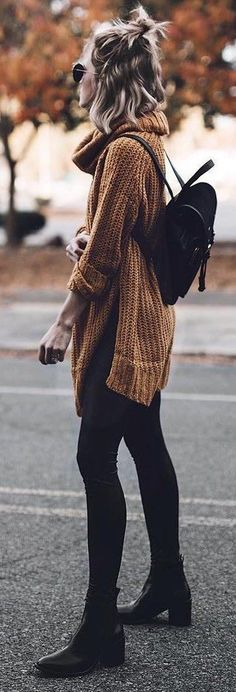nude and black trends | sweater + bag + skinnies + boots