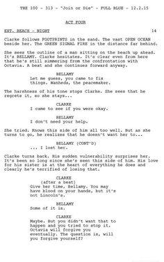 Bellarke- The 100 Script-3x13