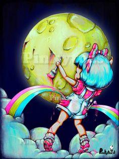 12x16-Paint the Midnight Moon-Rainbow Pocket Girl-Kawaii Fairy Tale-Pop Surrealism-Pinkytoast Art Print