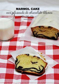 receta pastel marmol con glaseado de chocolate blanco