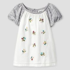 Baby Girls' Floral Knit Woven Blouses - Almond Cream 18M - Genuine Kids, Infant Girl's, Size: 18 M