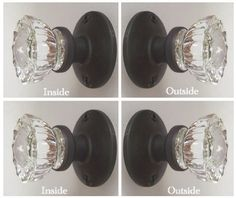 Nice Fluted Crystal Glass FRENCH DOOR Dummy Knob set for both sides of one door