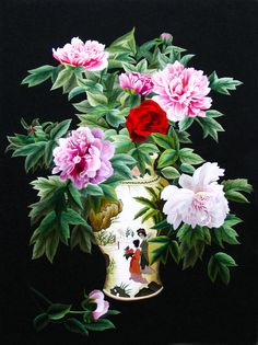 Bouquet of Peonies #Beautiful #Handmade #Silk #Embroidery #Art 76010 http://www.queensilkart.com/100-handmade-embroidery-framed-flower-floral-bouquet-of-peonies-76010/ In Feng Shui, peonies are perfect for Money & Fame Corners. Red is a lucky color & pink promotes love. Peonies are a traditional floral symbol of China, & were formally designated National Emblems.