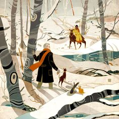 """""""The Sighting, the Search, the Meeting: A Romance"""" is a beautiful, whimsical story, told sequentially as this year's holiday greeting.  Image by Victo Ngai:"""