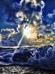 light beam through waves