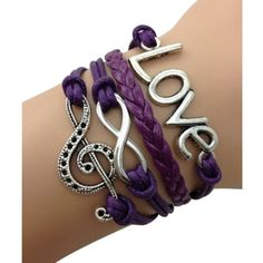 Purple Love Music Forever Arm Party Bracelet... Love the treble clef!!