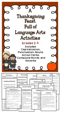 Thanksgiving Language Arts Activities For The Elementary Classroom - Includes punctuation, capitalization, nouns, verbs, and more! #tpt #Thanksgiving #literacy