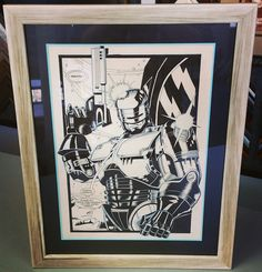 Original Robocop comic book panel framed with two reverse bevel acid-free mats and conservation glass! #art #pictureframing #customframing #denver #colorado #robocop #comicbook
