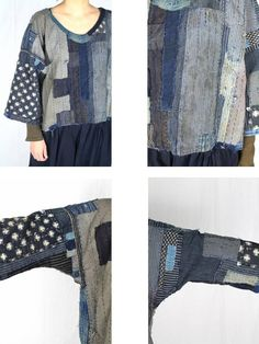 SASAKI-JIRUSHI (Japanese Boro) Japanese boro patchwork blouse Made by us. Material:Antique cotton,19th century.Japan. Color:Mixed. This shirt is very Boro,but very cool!!! Size: Neck to cuff : 20.8 inch (53 cm) Chest measurement : 50.3 inch(128 cm) Dress length: 21.2 inch (54 cm) Model:52(157 cm) Thank you!!! ------------------------------------------------------------------------------------------ Our store has reworked the antique and vintage stuff. Names of those items that we h...