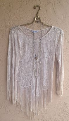 Groovy Hippie Lace Fringe blush pink mini dress with by BohoAngels, $60.00