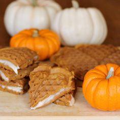 Pumpkin Cream Cheese Waffle Sandwiches | The Weary Chef #pumpkin #waffles
