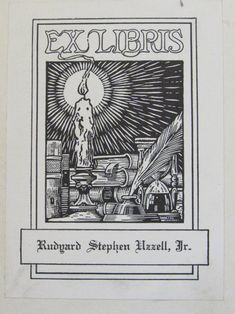 """Bookplate of Rudyard Stephen Uzzell Jr., (1912-1995) who served in the U.S. Army. His father """"Rudy"""" (1874-1962) was a well-known manufacturer of amusement park rides, historian for the American Museum of Public Recreation, and one of the founders of the National Association of Amusement Parks in 1920. His mother, Mary Blaine Uzzell, taught mathematics before marrying, having received her BS from Drury College, then a graduate degree, and then a degree from the University of PA in applied…"""