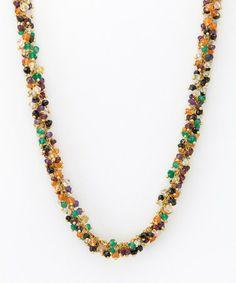 Loving this Gold & Green Gemstone Necklace on #zulily! #zulilyfinds