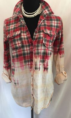 Distressed Upcycled Bleached Flannel Shirt Womens Sized Medium by TheVintagePalominoCo on Etsy Gebleichte Shirts, Tie Dye Shirts, T Shirt Yarn, Party Shirts, Flannel Shirts, Flannel Outfits, Red Flannel, Flannels, Bleach Shirt Diy