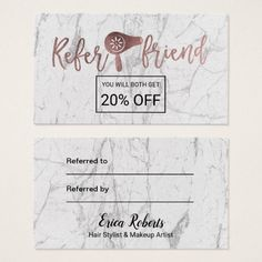 Referral Card |Rose Gold White Marble Beauty Salon