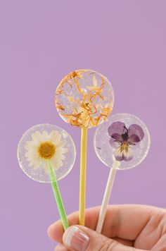 Easy DIY Lollipops With Edible Flowers (click through for recipe) Best Picture For DIY Edible gummies For Your Taste You are looking for something, and it is going to tell you exactly what you are loo Lollipop Recipe, Beach Wedding Flowers, Flower Food, Strawberry Desserts, Edible Gifts, Beautiful Mess, Edible Flowers, Hard Candy, Bake Sale