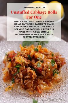 Unstuffed cabbage rolls, similar to traditional cabbage rolls but much easier to make and faster to cook. This single serving cabbage roll recipe is made with a few simple ingredients in one pan and is served over rice. | One Dish Kitchen Kitchen Dishes, Food Dishes, Main Dishes, Cooking For One, Meals For One, Unstuffed Cabbage Rolls, Breakfast Recipes, Dessert Recipes, Cabbage Rolls Recipe