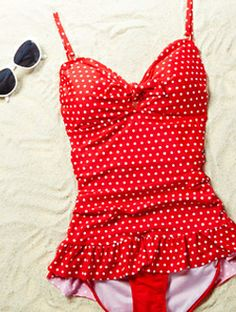 Want this red polka dot swim suit!