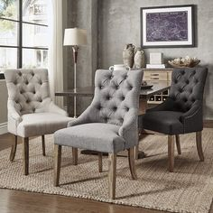 Benchwright Button Tufts Wingback Hostess Chairs by SIGNAL HILLS (Set of 2) | Overstock.com Shopping - The Best Deals on Dining Chairs