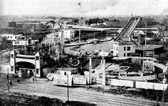 Sea Lion Park - The Shoot-the-Chutes is on the right and the Flip Flap Railroad is near the entrance on the left. - 1897