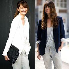 Caroline de Maigret é clássica em seus street style camisa e blazer não podem faltar